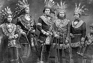 Ojibwe - Five Ojibwe chiefs in the 19th century.