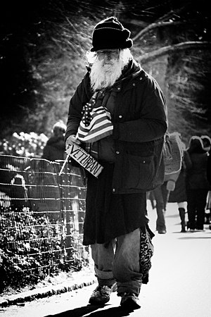 English: Homeless veteran in New York