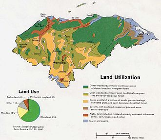 Geography of Honduras - A land use map of Honduras, 1983.