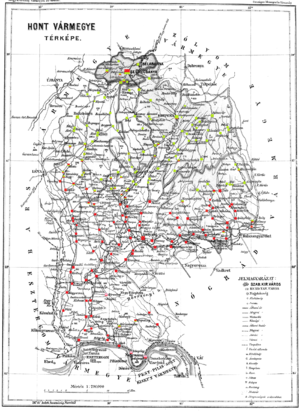 Hont County - Ethnic map of the county with data of the 1910 census (see the key in the description).