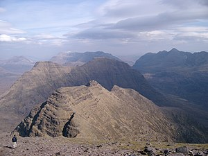 "Ross and Cromarty - View east from Sgurr Mhòr over the ""Horns"" of Beinn Alligin"