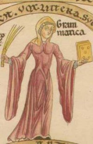 1100–1200 in European fashion - Figure of Grammatica showing the trumpet-sleeved bliaut characteristic of the later 12th century, from the Hortus Deliciarum, c. 1180