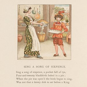 Elizabeth von Arnim - Illustration by Kate Greenaway for April Baby's Book of Tunes, 1900
