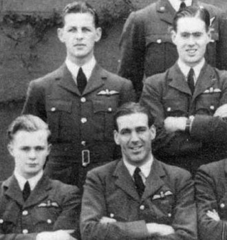 "Leonard Cheshire - Hugh ""Lofty"" Long (center) with pilot officer Cheshire (second row, right) in group photo of 102 Squadron, 1940"