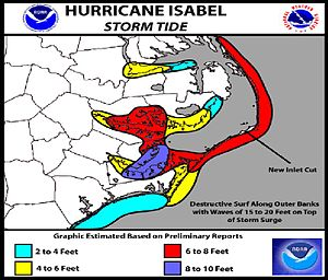 Effects of Hurricane Isabel in North Carolina - Storm tides