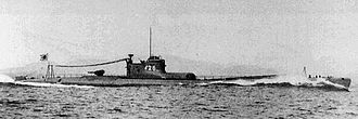 Lookout Air Raids - The Japanese Submarine I-26, a sister vessel to the I-25. Note the aircraft hangar immediately forward of the conning tower.