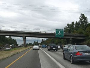 Washington State Route 516 - I-5 southbound approaching its interchange with SR 516 in Kent.