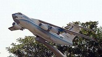 Tashkent Mechanical Plant - Il-76 on the entrance of Tashkent Aviation Production Association.