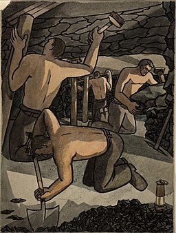 INF3-157 Coal miners at work, cutting coal and propping Artist George Bissill