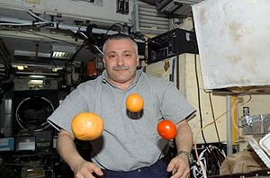 Fyodor Yurchikhin -  ISS Commander Yurchikhin pictured with fruit in Zvezda after a Progress resupply arrival