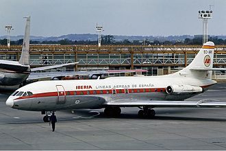 Iberia (airline) - Iberia Sud Aviation Caravelle at London - Gatwick in 1973
