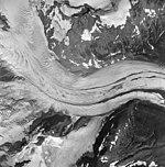 Iliamna Volcano, mountain glacier with lateral moraines, August 25, 1964 (GLACIERS 6577).jpg