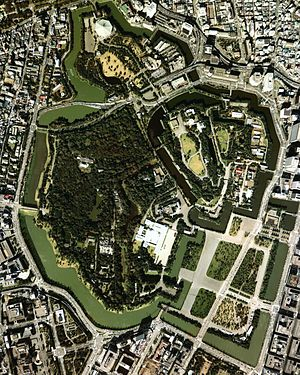 Edo Castle - Aerial view of the inner grounds of Edo Castle, today the location of Tokyo Imperial Palace