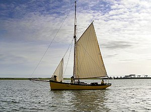 Bristol Channel pilot cutter - Replica Mischief built by RB Boat Building in 2007, sailing in Cardiff Bay, 2008