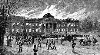Castle of Laeken - The castle on fire, 1 January 1890