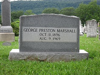 George Preston Marshall - Gravestone at the interment site of George Preston Marshall at Indian Mound Cemetery in Romney, West Virginia.