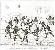 Indiens jouant au ballon avec le pied , Extrait de : France pittoresque
