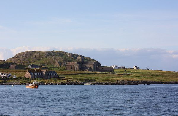 Iona Abbey Scotland - seen from ferry.jpg
