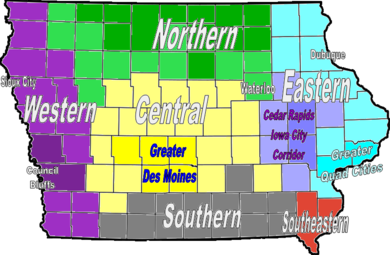 Regions of Iowa. IowaRegions2012.png