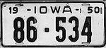 Iowa 1950 license plate - Number 86-534.jpg