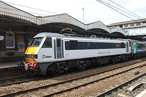 Ipswich - Greater Anglia 90001 down train.JPG