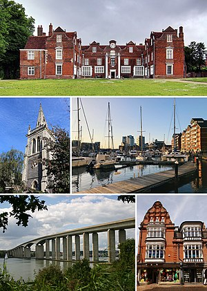 Top to bottom, left to right: Christchurch Mansion, St Mary-le-Tower, Ipswich Waterfront, Orwell Bridge, Ipswich Town Centre