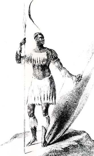 Zulu people - Shaka, king of the Zulu. After a sketch by Lt. James King, a Port Natal merchant