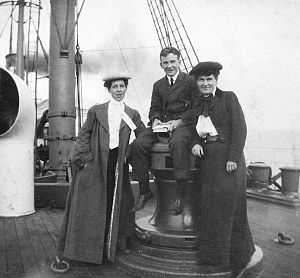 Willa Cather - Isabelle McClung, an unidentified man, and Willa Cather aboard the SS Westernland, 1902