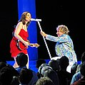 J'anna Jacoby and Rod Stewart performing at Caesars Palace, 2013.jpg