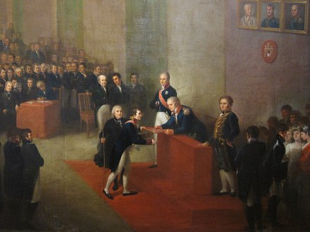 Act of granting the constitution to the Free City of Krakow. After the Partitions of Poland, Krakow was independent city republic and the only piece of sovereign Polish territory between 1815 and 1846. Jozef Brodowski 002-1(crop).JPG