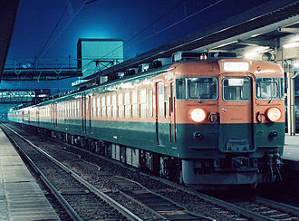 169 series - A 169 series set in Shonan livery in July 1982