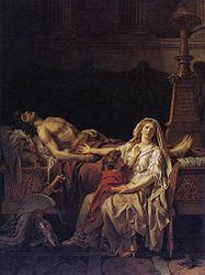 Jacques-Louis David: El dolor y los lamentos de Andrómaca sobre el cuerpo de Héctor