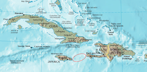 Jamaica Channel - The northern Caribbean showing in red the location of Jamaica Channel.