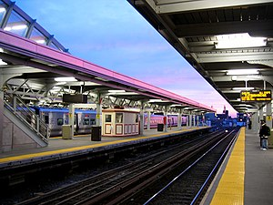 Jamaica (LIRR station) - Image: Jamaica station sunset, waiting