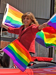 Jane Velez-Mitchell - Red Porsche - Pride Parade 2010 2.jpg
