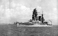 Nagato lies at anchor in Brunei Bay, 21 October 1944, shortly before the Battle of Leyte Gulf