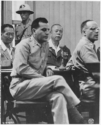 General Tomoyuki Yamashita (second right) was tried in Manila between October 29 and December 7, 1945, by a U.S. military commission relating to the Manila massacre and earlier occurrences in Singapore, and was sentenced to death. The case set a precedent regarding the responsibility of commanders for war crimes, and is known as the Yamashita Standard. Japanese War Crimes Trials. Manila - NARA - 292613.jpg