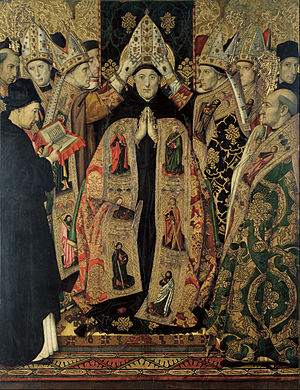 Saint Augustine Altarpiece (Huguet) - Image: Jaume Huguet Consecration of Saint Augustine Google Art Project