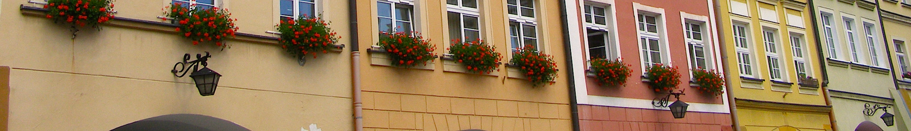 Colorful facades of the Jelenia Góra Town Hall Square