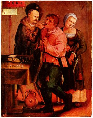 Medieval dentist removing tooth