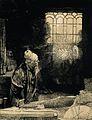 Johannes Faust. Etching after Rembrandt, 1651-52. Wellcome V0001876.jpg