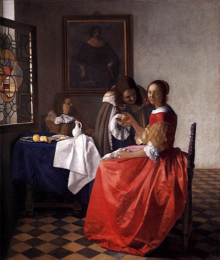 The Girl with the Wine Glass (c. 1659) Johannes Vermeer - A Lady and Two Gentlemen - WGA24639.jpg