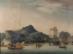 John Cleveley the Younger - The Resolution and Discovery off Hawaii (BHC1838), by John Cleveley the Younger (NMM)