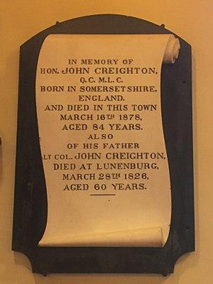 John Creighton (Nova Scotia politician) - John Creighton and his father's Plaque, St. John's Anglican Church (Lunenburg), Nova Scotia