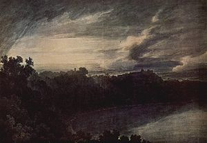 John Robert Cozens - Lake of Albano and Castel Gandolfo at sunset, c. 1777.