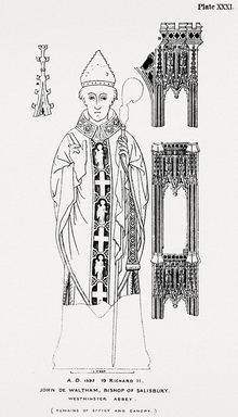 1860 illustration of the monumental brass of John de Waltham