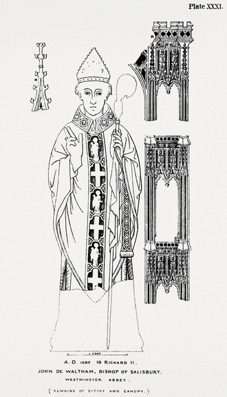 John Waltham - 1860 illustration of the monumental brass of John de Waltham