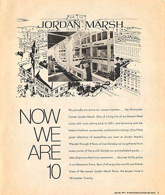 Worcester Center Galleria - Advertisement for Jordan Marsh, 1971