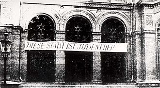 "Judenfrei - Synagogue in German-occupied Bydgoszcz. The inscription reads: ""This city is free of Jews"""