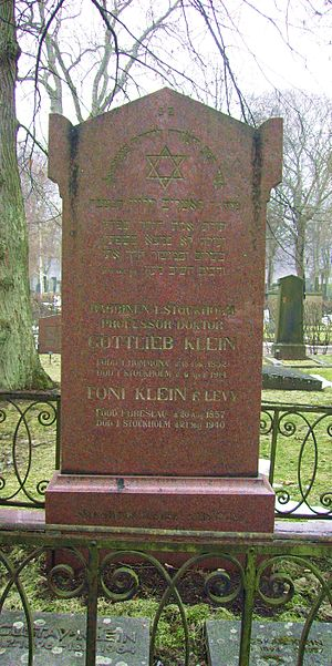 Oskar Klein - Oskar Klein's tomb at Judiska norra begravningsplatsen in Solna (grey stone to the right).
